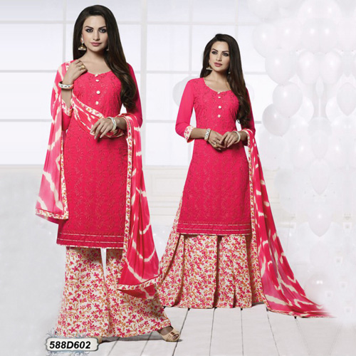 Alluring Peach Colored Georgette Unstitched Party We