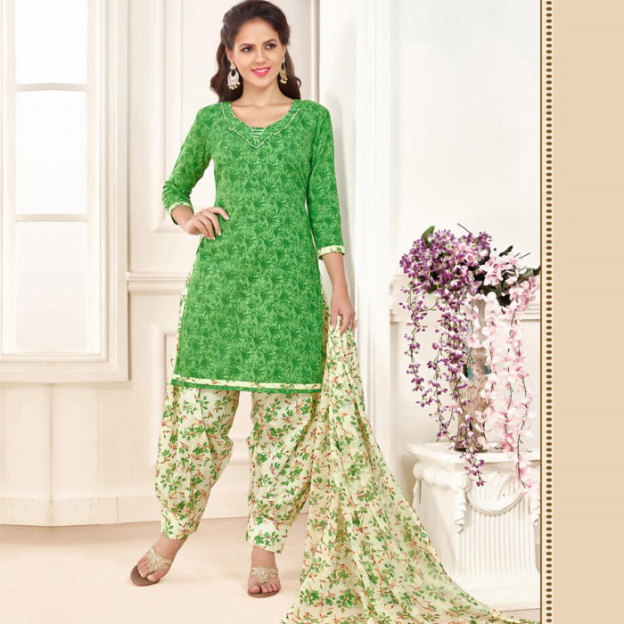 Stupendous White And Green Colored Cotton Salwar Sui