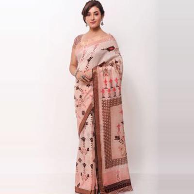 Dusty Pink & Multicolor Handloom Printed Saree-SR248