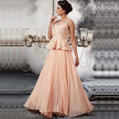 Peach Sequins Embroidered Georgette Indowestern Gown