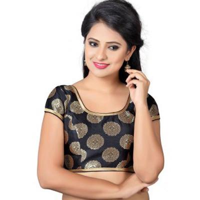 Black Brocade Zari Woven Designer Banarasi Blouses-B