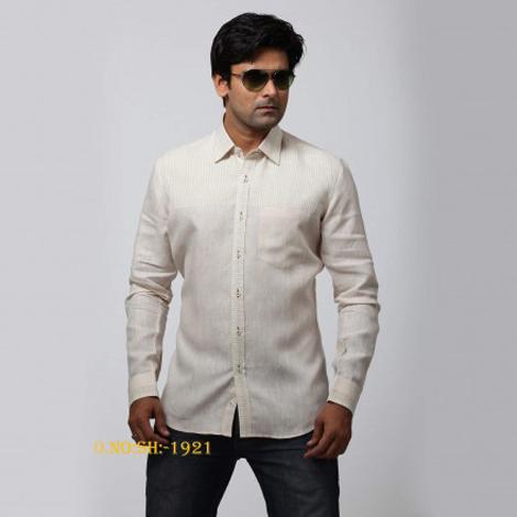 White Striped Designer Partywear Shirt