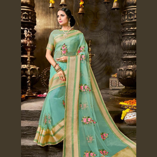 Georgette Organza Festival Wear Embroidery Work Sarees