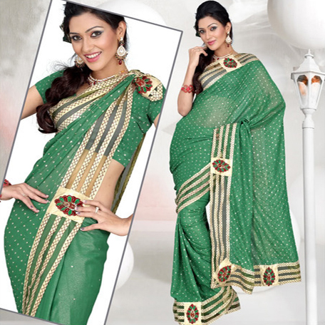Leaf Green Faux Shimmer Georgette Saree With Blouse
