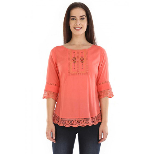 Mustard Graceful Coral Coloured Lace Top