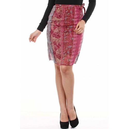Mustard Dark Pink Printed Chiffon Skirt