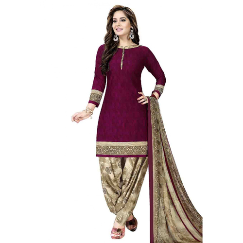 Unstitched Leon Crepe Printed Patiala Suit In Magenta Colour