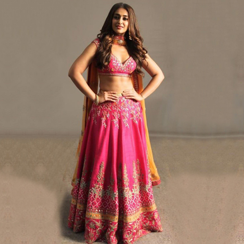 Ileana D'Cruz Banglori Silk Lehenga Choli In Pink Colour