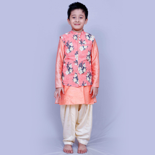 Silk Kurta Pajama Set In Peach Colour