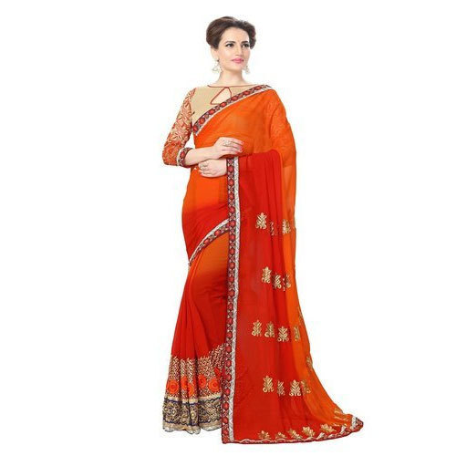 Designer Party Wear Embroidered Saree