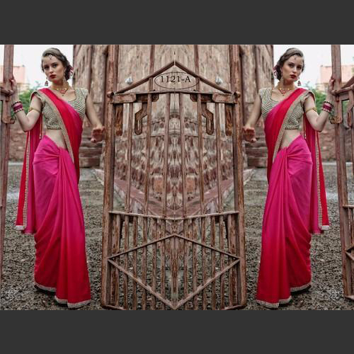 Designer Heavy Blouse with gorgeous Shaded Saree