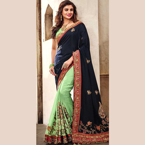 Pretty Light Green And Blue Georgette Saree.