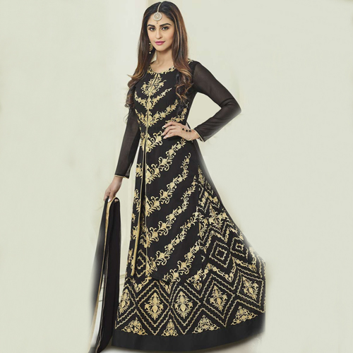 Trendy Black Georgette Lehenga Suit.