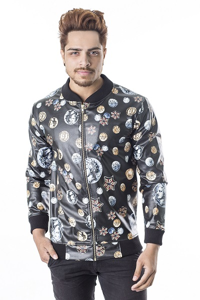 Men London Coin Printed Leather Jacket