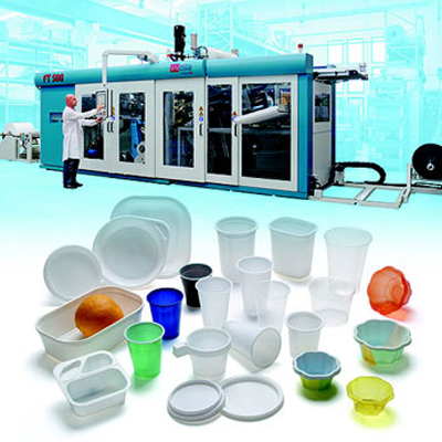 Vacuum and pressure thermoforming machines