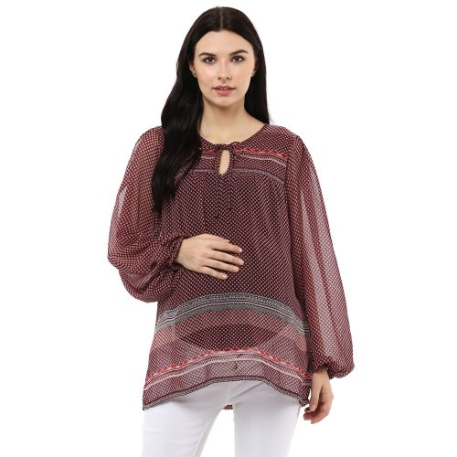 Women's Round Neck Full Puff Sleeves Maternity Top