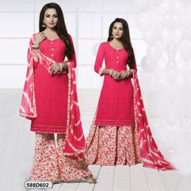 Alluring Peach Colored Georgette Unstitched Party Wear Salwar Suit
