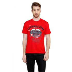 Freakn Red Solid R-Neck Slim Fit Tshirts