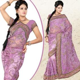 Charming Purple Net Saree With Blouse