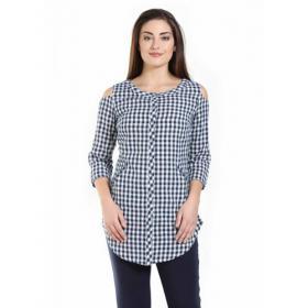 Mustard Blue & White Cold Shoulder Check Shirt