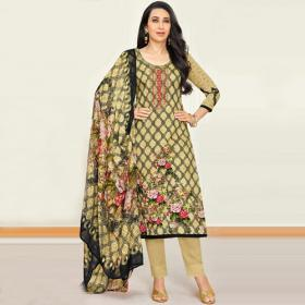 Karishma Kapoor Yellow Pure Satin Straight Suit.