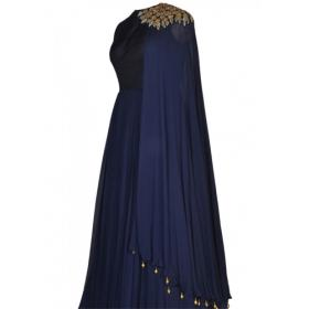 Youdesign Raw Silk Georgette Gown In Navy Blue Colour Size Upto 66
