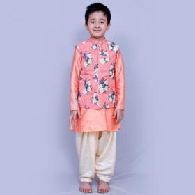Silk Kurta Pajama Set In Peach Colour