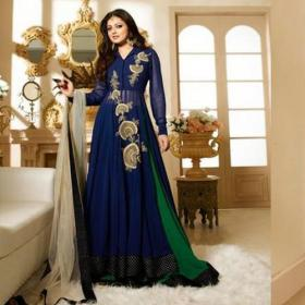 Indian Style Green & Blue Color Georgette Suit