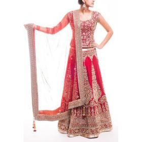 Skyblue Fashion Red Color Semi Stitched Embroidered Lehenga