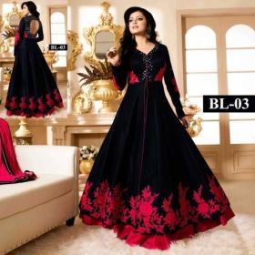 Elegant And Stylish Black Color Albela Silk Anaekali Suit