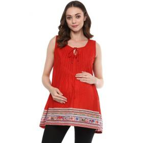 Women Sleeveless Red Maternity Top